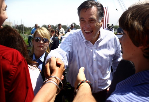 Republican presidential candidate, former Massachusetts Gov. Mitt Romney, greets supporters during a campaign stop in Portsmouth, Va., on Thursday, May 3, 2012.