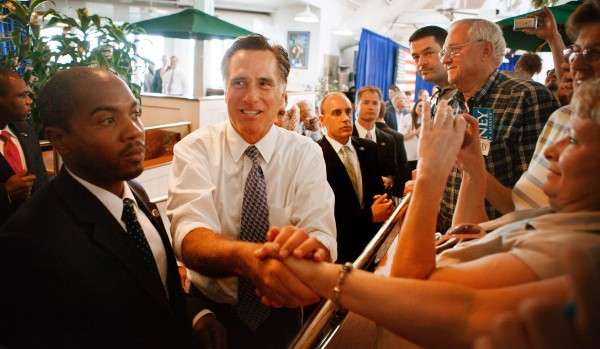 Mitt Romney greets supporters during a campaign stop in Omaha, Neb., Thursday, May 10, 2012.