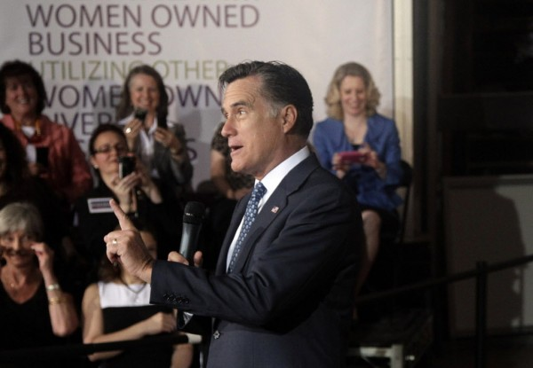 Republican presidential candidate, former Massachusetts Gov. Mitt Romney speaks to women in Chantilly, Va., earlier this month.