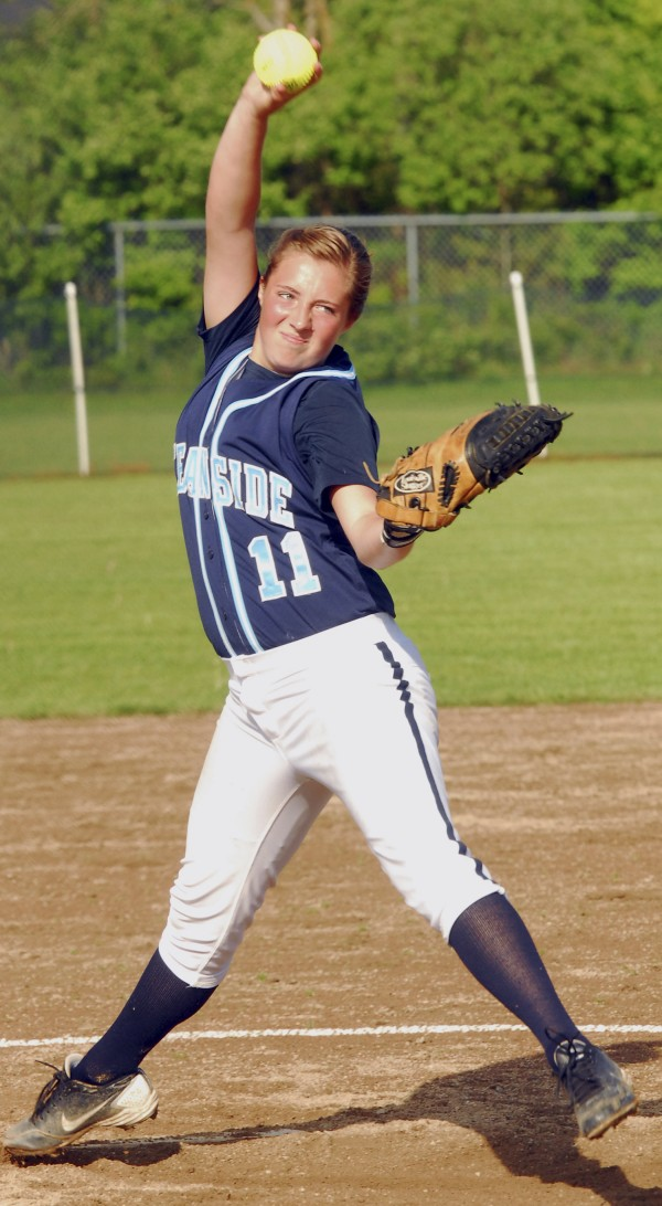 Ocean Side's Rachel Frye goes to work in the fifth inning with a no-hitter intact against Medomak Valley Wednesday afternoon in Thomaston.