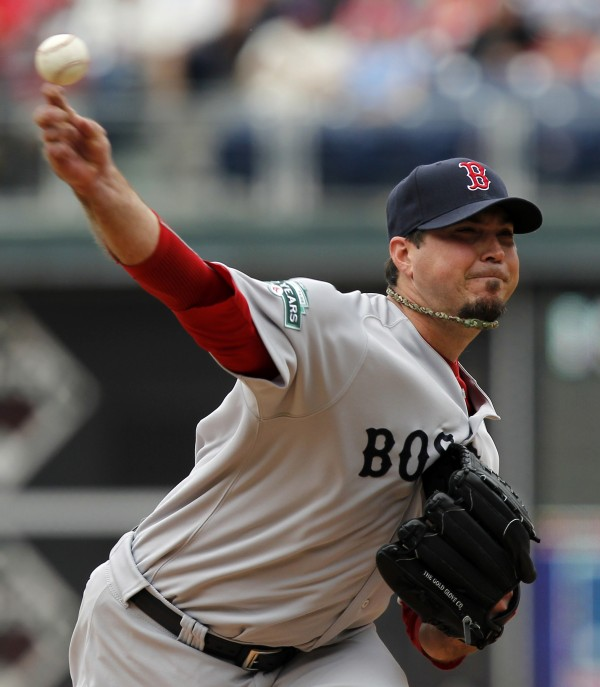 Boston Red Sox starting pitcher Josh Beckett throws during the seventh inning of an interleague baseball game with the Philadelphia Phillies, Sunday, May 20, 2012, in Philadelphia. The Red Sox won 5-1.