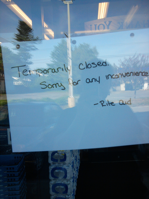 A sign was placed in a window at the Union Street Rite Aid after a reported robbery Monday afternoon.