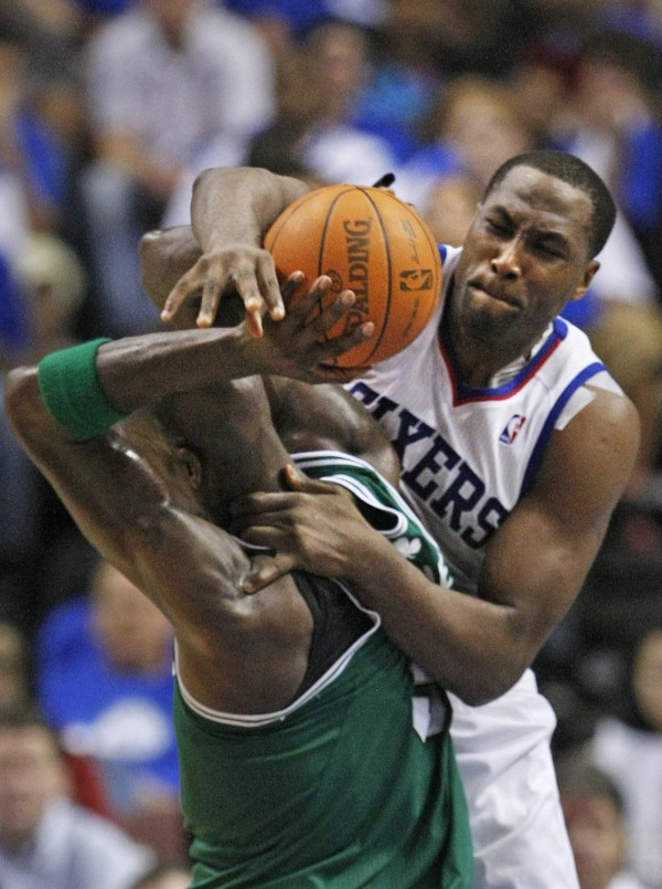 Philadelphia 76ers' Elton Brand prevents  Boston Celtics' Kevin Garnett from scoring in the second quarter during Game 6 of the NBA Eastern Conference semifinals on Wednesday, May 23, 2012, at the Wells Fargo Center in Philadelphia.