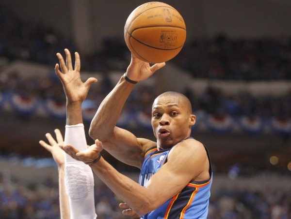Russell Westbrook of the Oklahoma City Thunder plays in Game 4 of the first-round Western Conference playoff series at the American Airlines Center in Dallas, Texas, on Saturday, May 5, 2012.