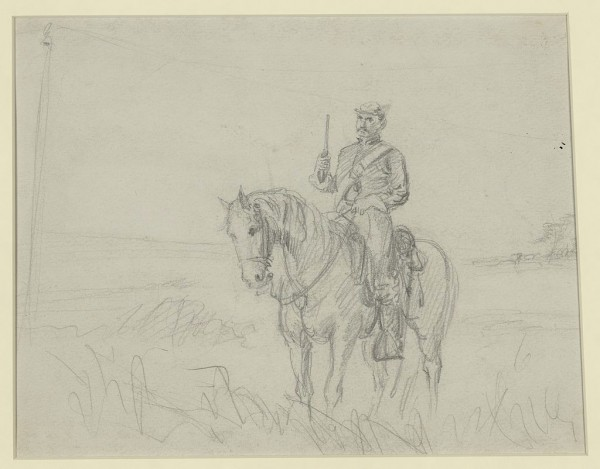 His pistol drawn, a Union cavakryman sits on his horse while scouting in Virginia during the Civil War. The troopers who rode with the 1st Maine Cavalry Regiment were similarly equipped as they rode with the Army of the Potomac.