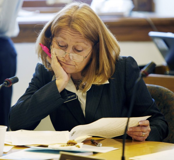 In this file photo from April 16, 2009, Rep. Kathleen Chase, R-Wells, studies documents during a hearing before the Legislature's Taxation Committee, at the State House in Augusta.
