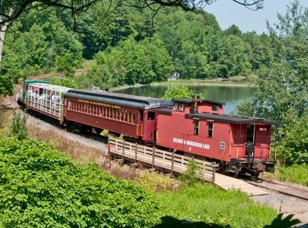 Photo of the Belfast and Moosehead Lake train on an inland excursion from Belfast.