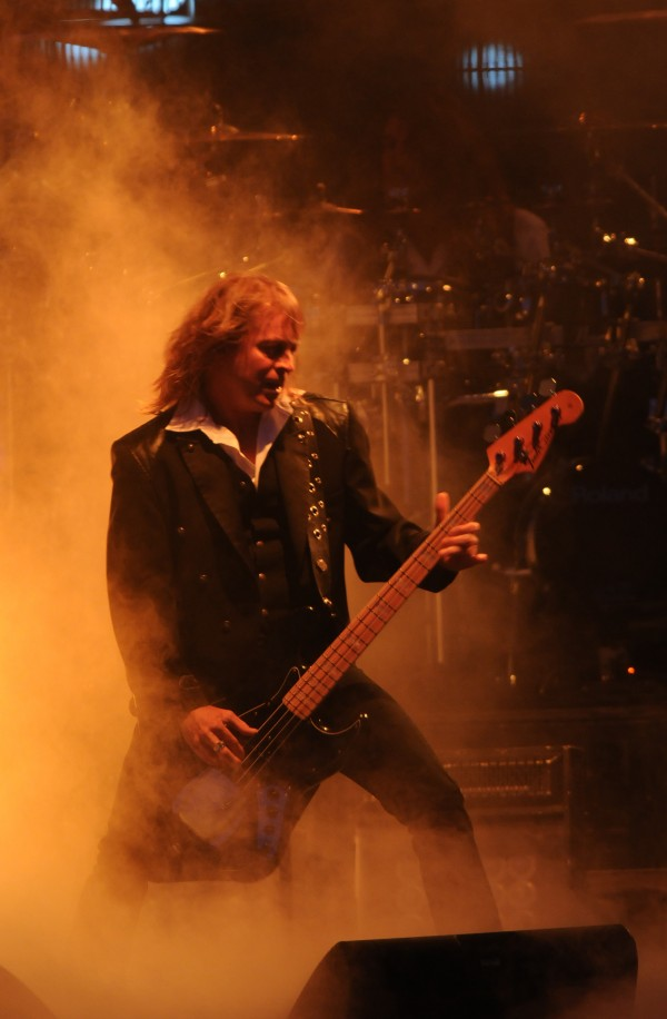 Bassist John Lee Middleton performs as part of the Trans-Siberian Orchestra on the Bangor Waterfront on Wednesday, May 9, 2012.