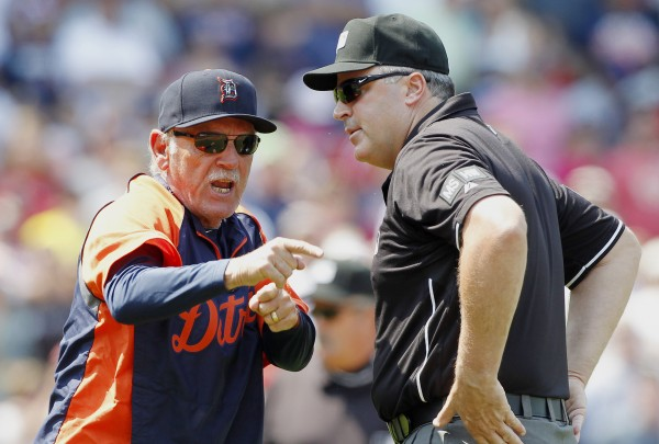 Detroit Tigers manager Jim Leyland, left, argues with first base umpire Tim Brookens after being ejected in the third inning of a baseball game against the Boston Red Sox in Boston, Monday, May 28, 2012.