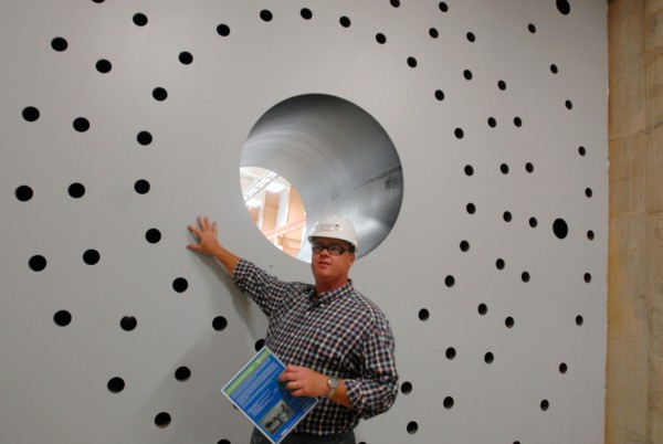 Tom Perkins of Dirigo Architectural describes in August 2011 how the blade  of a wind turbine would be attached to the inside of the test stand at the Offshore Wind Laboratory at the University of Maine. This test stand is made of 6.5 mililon pounds of concrete and 40 tons of steel and can hold a blade up to 70 meters long for testing.