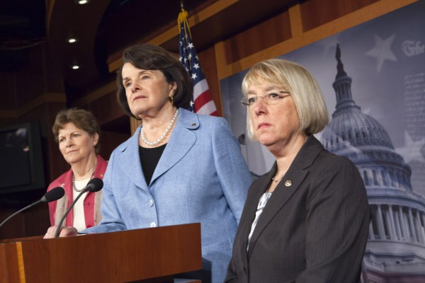Sens. Jeanne Shaheen, D-N.H., from left, Dianne Feinstein, D-Calif., and Patty Murray, D-Wash., take questions in April from media about the reauthorization of the Violence Against Women Act, originally passed in 1994, on Capitol Hill in Washington.