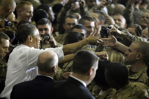 President Barack Obama greets troops at Bagram Air Field, Afghanistan, on May 2.