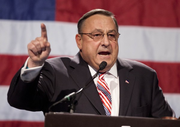 Gov. Paul LePage speaks at the Maine GOP convention in May 2012.
