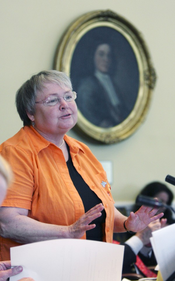 Sen. Nancy Sullivan, D-Biddeford, gestures while  debating aspects of  the budget in the Senate at the State House in Augusta, Maine, on Thursday, June 16, 2011