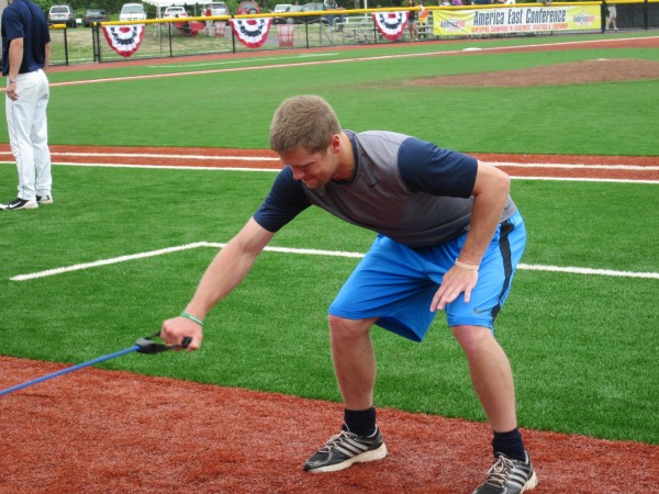 UMaine pitcher Steve Perakslis does some stretching prior to Friday's game against Binghamton in the America East Baseball Championship at Stony Brook, N.Y.