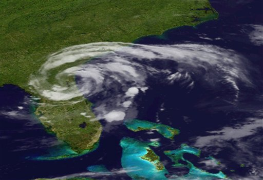 An image provided by the National Oceanic and Geographic Authority shows a GOES satellite image of Tropical Storm Beryl as it makes landfall in Florida early Sunday, May 28. The storm made landfall in northeastern Florida, bringing drenching rains and driving winds to the southeastern U.S. coast, forecasters said.
