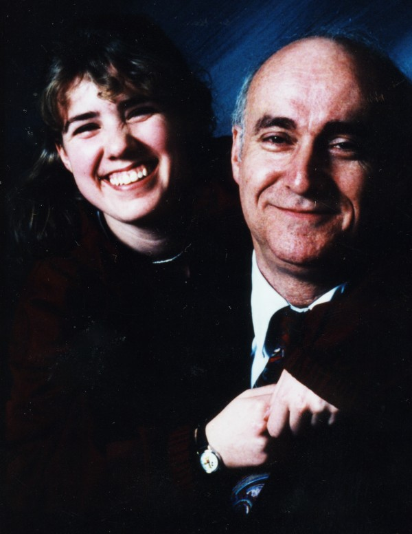 Long-time Bonny Eagle High School theatre teacher and director P. Michael Bourgoin smiles in a picture with student Heather Hilton in a 1995 photo. A show this weekend will raise money for a scholarship in his memory and the school auditorium will be named in his honor. &quotHe taught us all to laugh out loud,&quot said Hilton, now a criminal investigator.