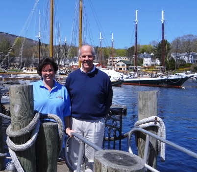 Kim Graffam (left) and Flint Decker stand near the outside tables of the new Graffam Bros. Harborside Restaurant in Camden on Monday, May 7, 2012.