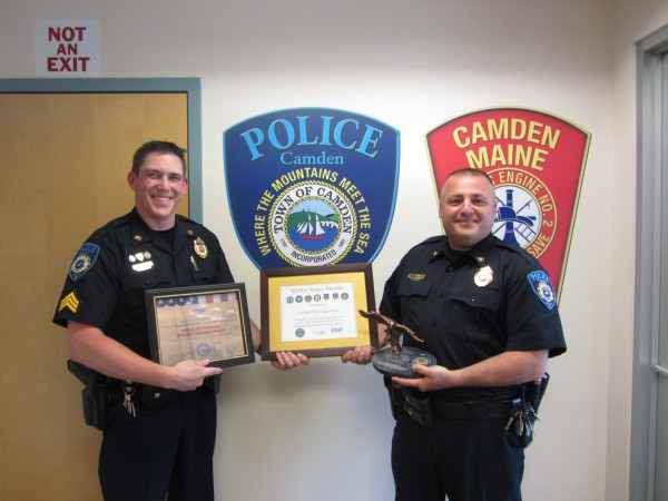 Camden Police Sgt. Patrick Polky (left) nominated Chief Randy Gagne (right) and the Camden Police Department for a national award given to employers who support guard and reserve members.