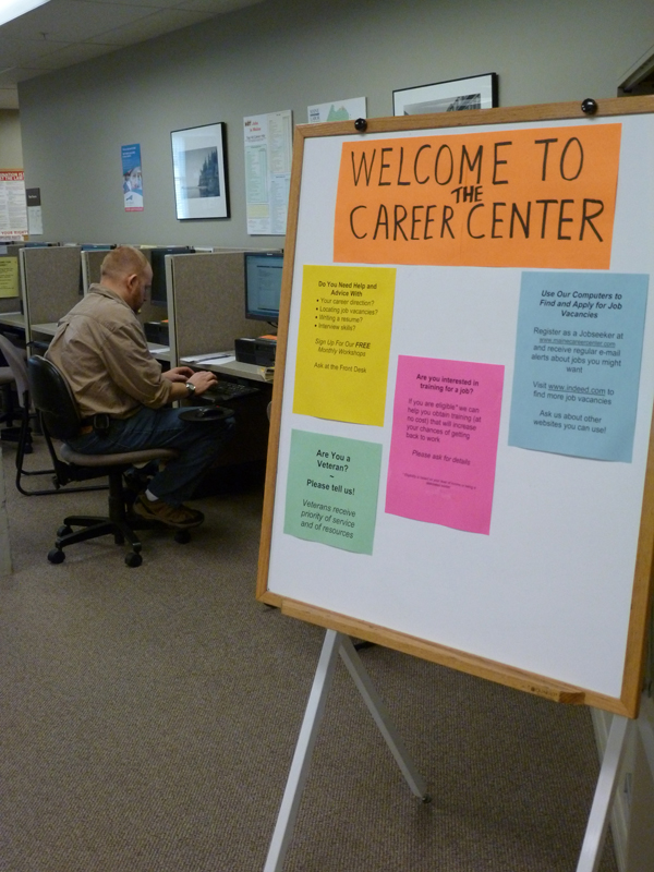 Eugene Winchenbach of Thomaston used the Career Center in Rockland on Wednesday to hunt for a new job. Winchenbach is employed, but would like to become a certified nursing assistant.