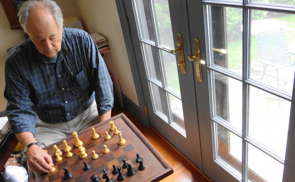 Jim Lea Rockport, shown here at a chess board at his home, is working on establishing a 10-foot-square chess board with pieces up to 2-feet tall at Rockport's Marine Park.