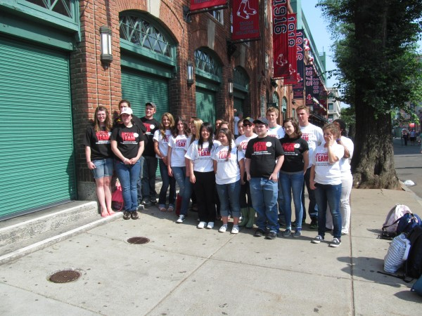 Approximately 20 high school students from Maine who are part of Volunteers of America Action Teams were recognized for their efforts with VIP treatment at Fenway Park on Tuesday, May 29, 2012, in Boston as the Boston Red Sox took on the Detroit Tigers.