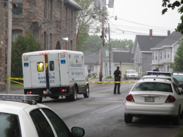 The scene at the corner of First and Cedar streets Tuesday morning.