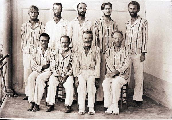 This photo was taken in January, 1944, shortly after these nine men, along with Capt. Edwin Earle Greenlaw (believed to be the second from left, back row) landed in French Guiana after spending 39 days at sea in a lifeboat.