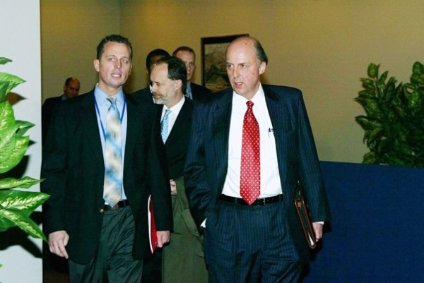 Richard Grenell, left, in 2003 with U.S. Ambassador John Negroponte.