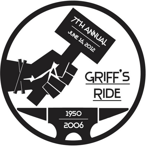 Griff's Ride 2012 logo. The charity ride honors Gary Griffith, who was killed in a motorcycle crash in 2006. The logo was designed by Griffth's nephew Haiden Goggin. The ride and barbecue takes place on June 16, 2012.