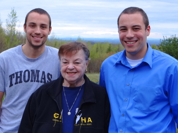 Tyler Hadyniak (right) poses with his grandmother Sallyann Hadyniak and his twin brother, Kyle, in Freedom.