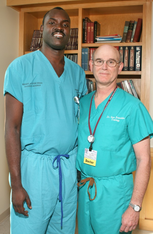 Maine Medical Center  Dr. Jory Desir (left) of Cap-Haitien, Haiti, with Dr. Sam Broaddus, director of Maine Medical Center's division of urology on Thursday, May 31, 2012.