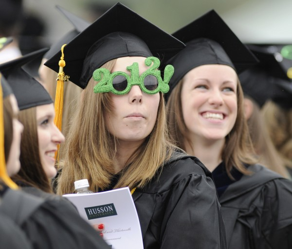 Husson University graduated its largest class at the 113th Commencement, held under gray skies in Bangor, Maine, Saturday, May 5, 2012.