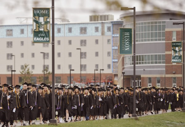Husson University held its 113th Commencement and ushered its largest graduating class into becoming alumni at a ceremony held in Bangor, Saturday, May 5, 2012.