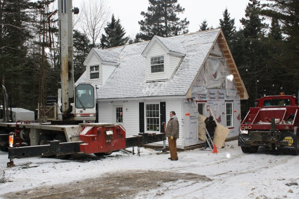 One of the modular homes purchased by Islesboro Affordable Property is set up.