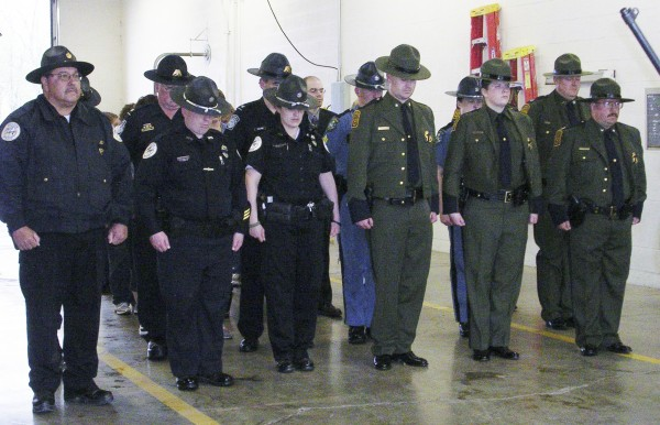 Officials from local, state and national law enforcement agencies paused for a moment in Aroostook County on Tuesday, May 15, 2012, to honor fallen officers and remember their sacrifice. The Houlton Police Department hosted its fourth annual memorial ceremony at the Houlton Fire Department, which was attended by approximately 25 Houlton Police officers, Maine State Police, U.S. Border Patrol agents and U.S. Customs and Border Protection officers.