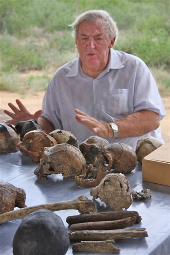 Paleoanthropologist Richard Leakey discusses the evidence for human evolution over a collection of hominin fossil casts at the Turkana Basin Institute's Ileret research facility in northern Kenya.