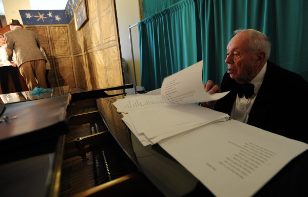 84-year-old pianist Greg Osborne follows along in the script as actors rehearse the original play &quotThe Skylight Club&quot on Thursday, May 17, 2012 at the Hammond Street Senior Center in Bangor.