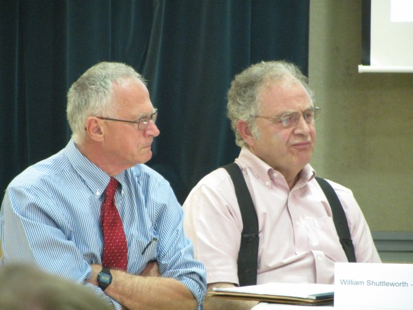 Five-Town Community School District Superintendent William Shuttleworth (left) speaks during a Monday evening meeting of the board of directors from school districts from Waldoboro to Islesboro.