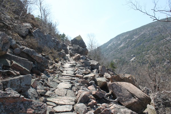 """A trail of stone steps winds up Huguenot Head, a 731-foot hill beside Champlain Mountain on Mount Desert Island on April 16, 2012. The trail is one of the many hiking trails described in the second edition of """"Hiking Mount Desert Island: Pocket Guide"""" written by Earl Brechlin of Bar Harbor and published by Down East Books in April 2012."""