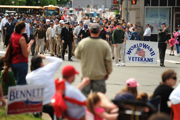 World War II veterans parade near the intersection of State and Exchange streets in Bangor on Monday, May 28, 2012, Memorial Day.