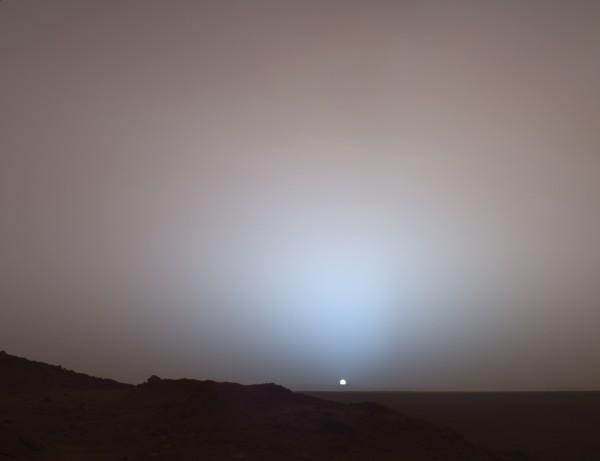 The sun sets on Mars.