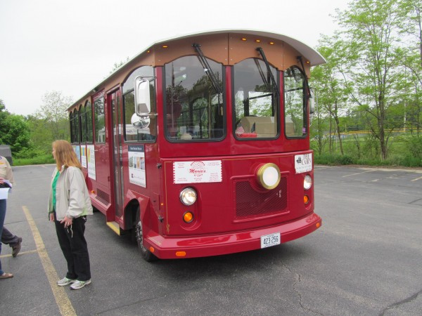 Bath's new trolley, shown here during a recent chartered tour, is awaiting a new name. City officials see it as an important promotional tool and part of the city's culture.
