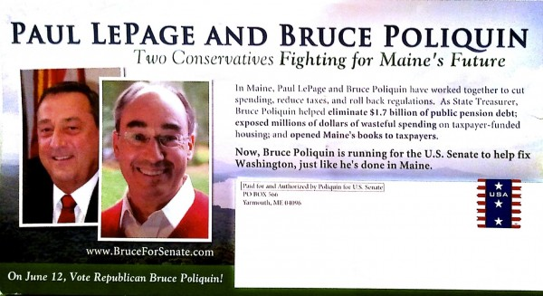 A mailer sent by the Bruce Poliquin campaign.