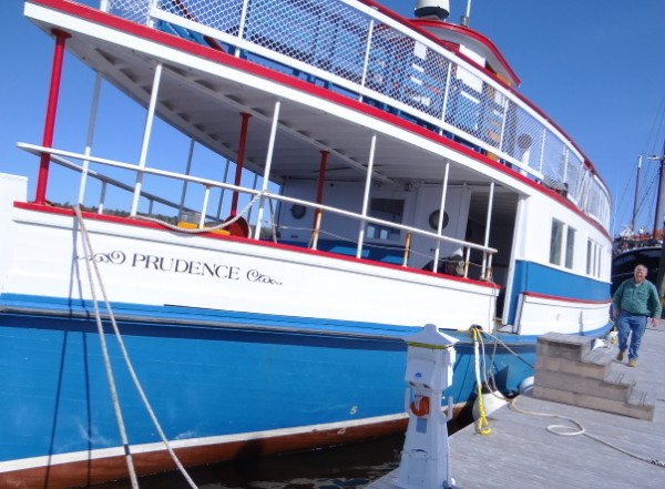 The Prudence, an oak-framed, plank-on-plank boat built in East Boothbay in 1911, is docked at the Front Street Shipyard in Belfast on Monday. The vessel will offer passenger excursions and charters out of Belfast and Bangor this summer.