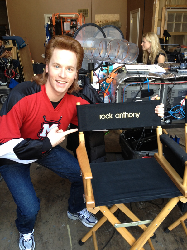 Presque Isle native Rock Anthony poses by his new studio chair on the set of the hit FOX TV series &quotGlee&quot in 2012. Anthony is in costume as his character on &quotGlee,&quot Rick &quotThe Stick&quot Nelson.
