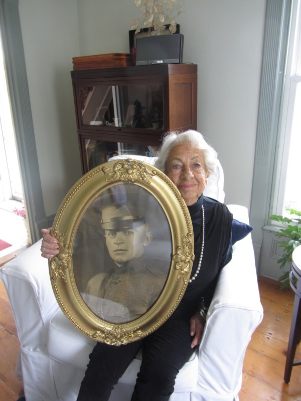 Roberta Holbrook Best of Rockland holds on Friday, May 25, 2012, a framed photograph of her brother Lt. Albert Holbrook, who was killed in World War I. A memorial in honor of him and Pvt. Arthur Winslow will be dedicated at 11 a.m. Monday, May 28, in Rockland.