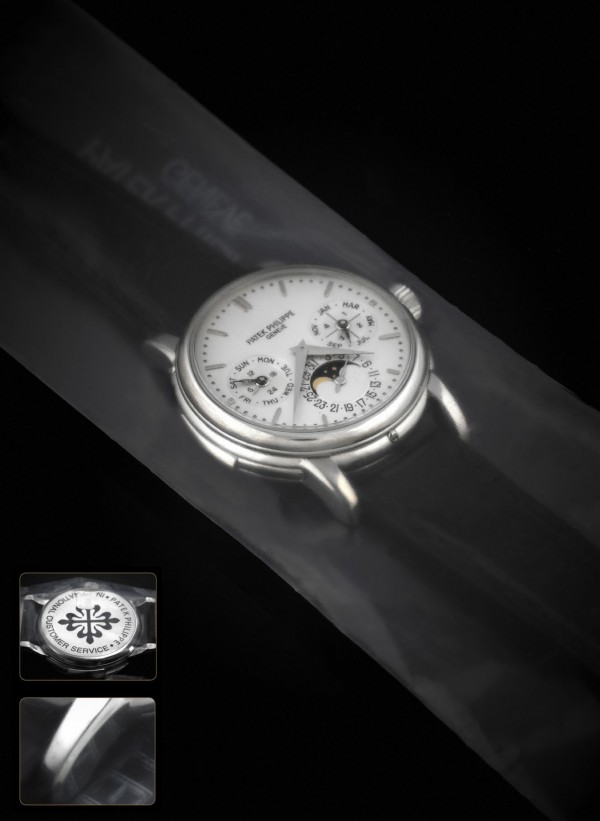 The rare Patek Philippe wrist watch sold for $902,500 in a recent Antiquorum auction.