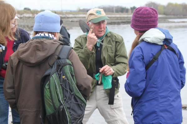 Bob Ramsdell, chairman of the Searsport Shellfish Management Committee, talks about how a razor clam burrows into the sand on Sears Island during a field trip for the Penobscot Bay Stewardship Program on May 8, 2012.