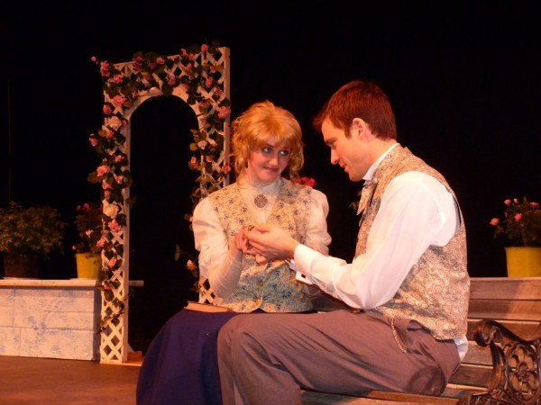 "Angelina Nichols and Nathan Roach perform as Cecily and Algy in Ten Bucks Theatre's ""The Importance of Being Earnest."""